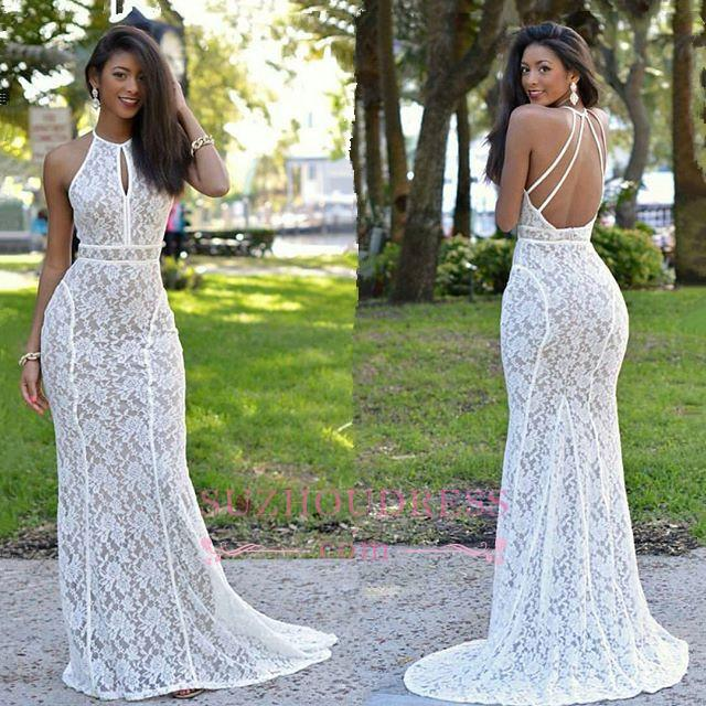 Lace Newest Mermaid Sweep-Train Sleeveless Prom Dress