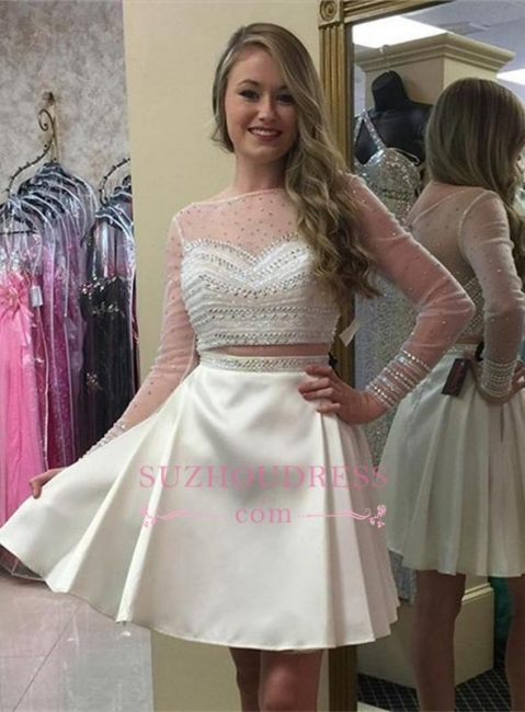 Popular A-line Long Sleeve Modern Beads Two Piece Mini Homecoming Dress