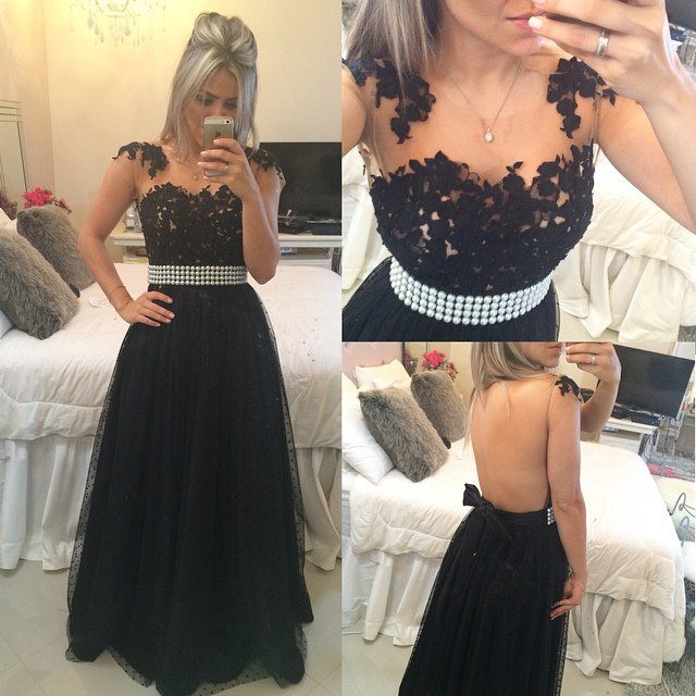 A-Line Black Tulle  Prom Dress Beading Lace Bowknot Formal Occasion Dresses
