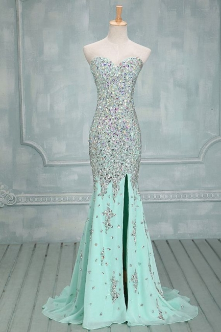 Mermaid Sweetheart Chiffon Evening Dresses  Sweep Train Prom Gowns with Beadings