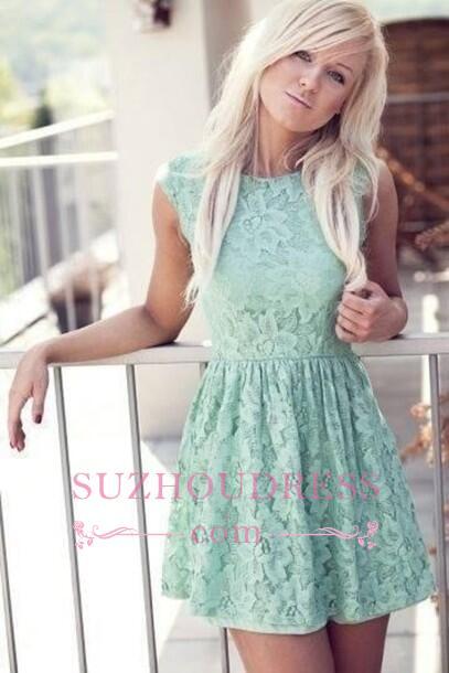 Sleeveless  Mint Bateau Miniskirt Lace New Pretty Homecoming Dress