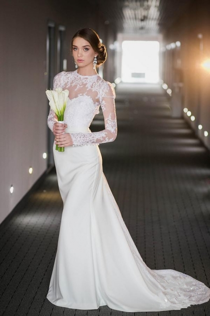Vintage Long Sleeve Lace High Neck Wedding Dress Satin Bridal Gown with Open Back