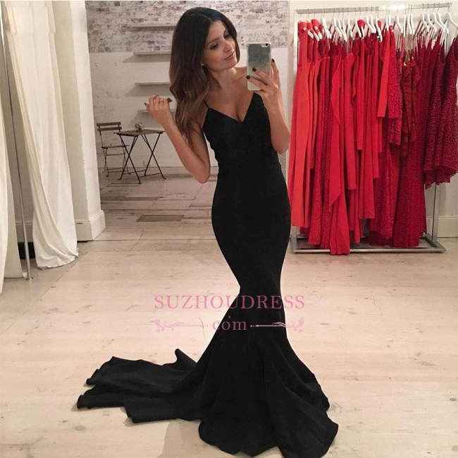 Black V-Neck Mermaid Evening Gown   Sexy Spaghetti-Strap Prom Dress