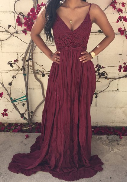 Burgundy Spaghetti Straps Sexy Summer Evening Dress Lace Backless Popular Maxi Dresses BA2326