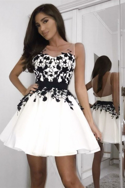 Elegant Short V-Neck Homecoming Dresses | Sleeveless Appliques A-Line Party Dresses
