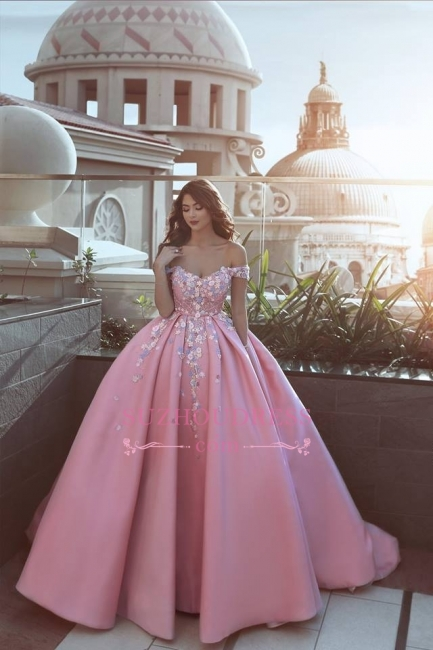 Luxury Floral Off-The-Shoulder Prom Dresses  Pink Puffy Evening Gowns
