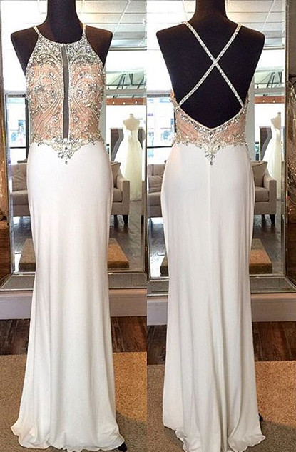 Crystal Sheath Floor Length Evening Dresses Crossed Back Beading Party Gowns
