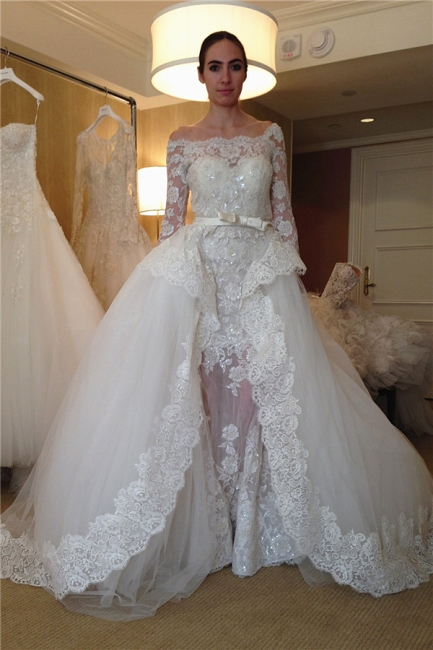 Gorgeous Off-the-shoulder Long Sleeve Lace Wedding Dresses  Sheer Overskirt Tulle Bridal Dress