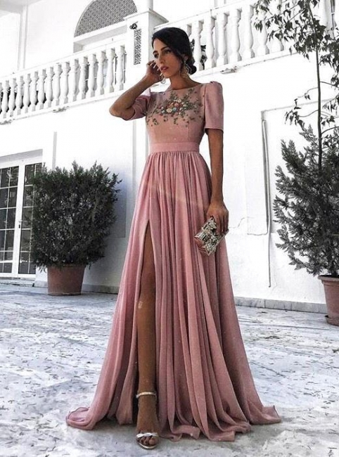 A-line Short Sleeves Appliques Evening Dresses |  Side Slit Ruffles Prom Dresses