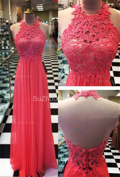 Floor Length A-Line Lace Prom Gowns  Halter Open Back Evening Dresses