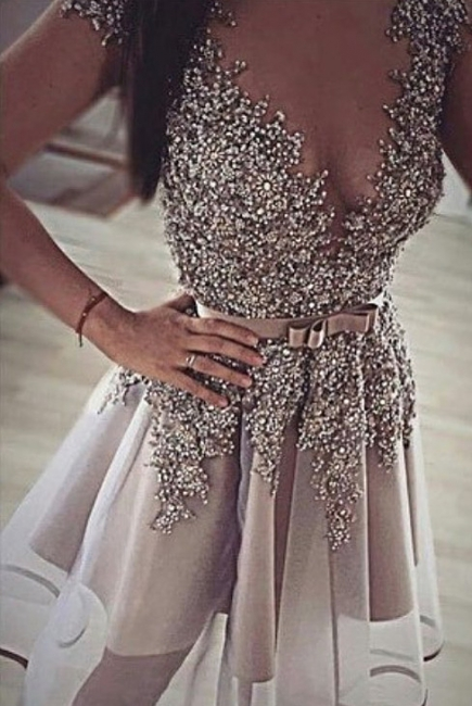 Sparkly Beaded Sequins Silver Homecoming Dresses  Bowknot Belt Evening Gowns