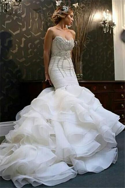 New Arrival Mermaid Sweetheart Wedding Dreses  Crystal Ruffles Bridal Gowns