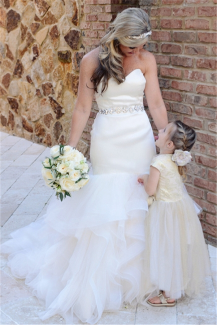 Strapless Ruffles Wedding Dresses Mermaid Open Back Sheath Bride Dress with Crystals Belt