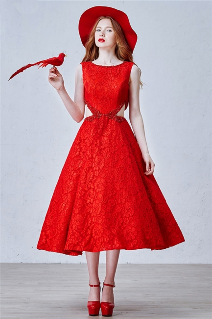 Puffy Lace Skirt  Prom Dresses Backless Tea Length New Arrival Evening Dress