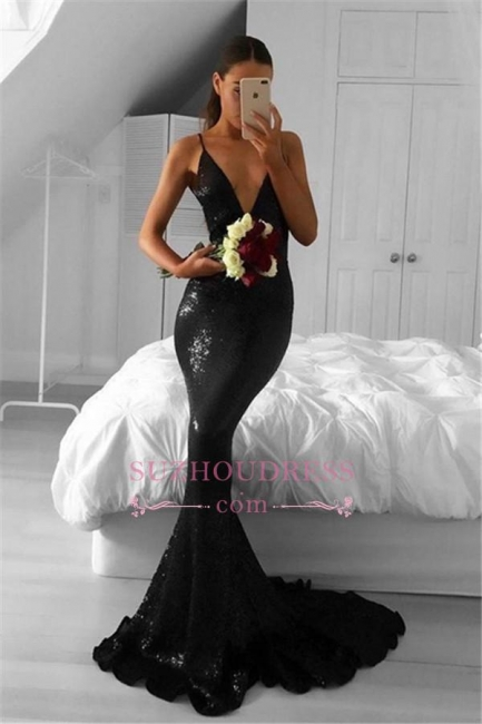 Black Sequined Sexy Mermaid V-Neck Sweep-Train Prom Dresses qq0302-AN0
