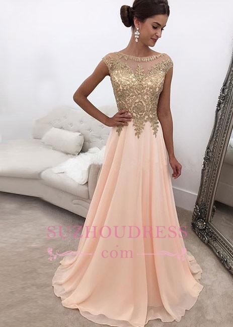 Sleeveless Chiffon Sweep-train A-line Round-neck Pink Beading Evening Dress BA6652