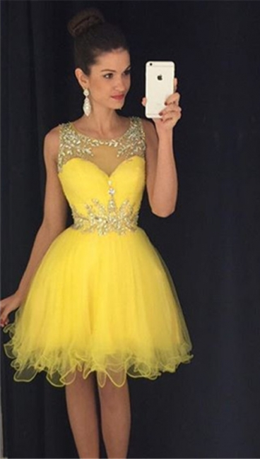 Lovely Organza Homecoming Dresses  Short Beading Crystals  Party Dress
