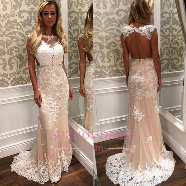 Crystal Long Tulle Lace Gorgeous Open-Back Prom Dress BA4294