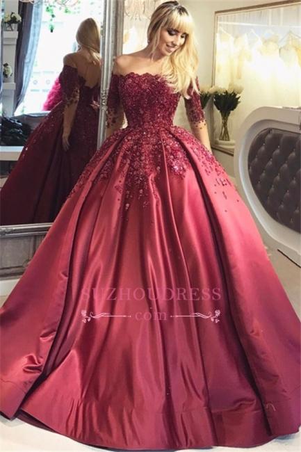 Burgundy Ball Appliques Crystal Off-the-Shoulder Long-Sleeves Prom Dresses BA6695