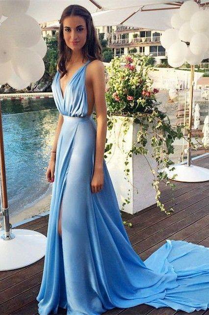Blue Chiffon  Sexy Summer Evening Dresses Deep V-Neck Side Slit Open Back Popular Prom Dresses