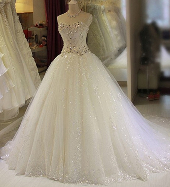 Glamorous Sweetheart Sleeveless Lace Appliques Wedding Dresses Glittery Beaded Bridal Gowns Online