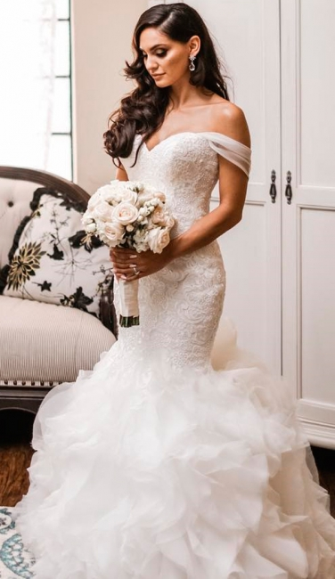 Off The Shoulder Puffy Ruffles Wedding Dresses Cheap | Sheath Tulle Sexy Lace Bridal Gowns