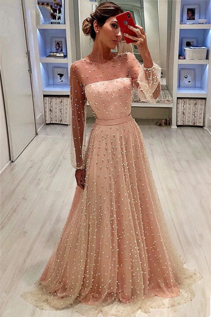 Elegant Tulle Jewel Ruffles Beading Prom Dress Long Sleeves Evening Gowns On Sale BC0617