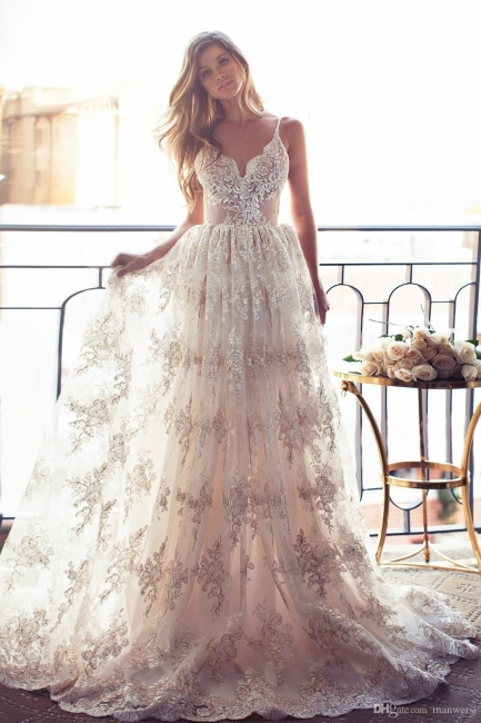 Full Lace Open Back Wedding Dresses Sexy Spaghetti Straps Summer Wedding Gowns