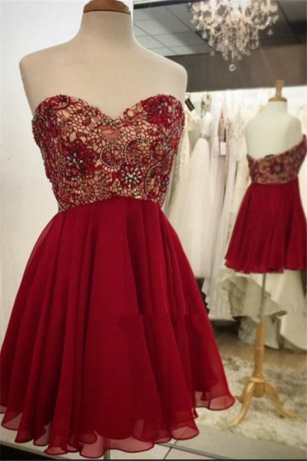 Sweetheart Lace Chiffon Beaded Homecoming Dress  Burgundy Cocktail Dresses