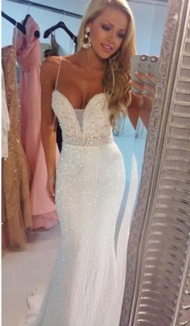 Sexy Mermaid Spaghetti Strap Prom Dress Crystal Floor Length Formal Occasion Dress