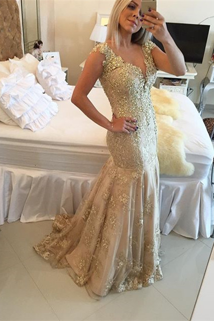 Sexy Mermaid Beading Evening Gown New Arrival Crystal Lace Party Dress