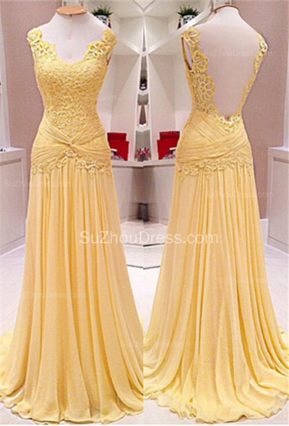 Backless Lace A-Line Evening Dresses  Ruffles Sweep Train Prom Gowns