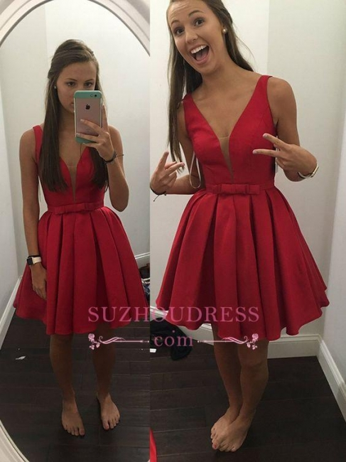 Bowknot Red V-neck Simple Sleeveless  Short Straps Sash Homecoming Dress