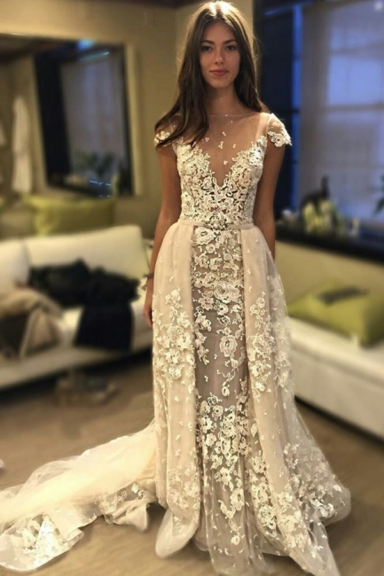 Unique Short Sleeve Lace Appliques Wedding Dress | Bridal Gowns Online