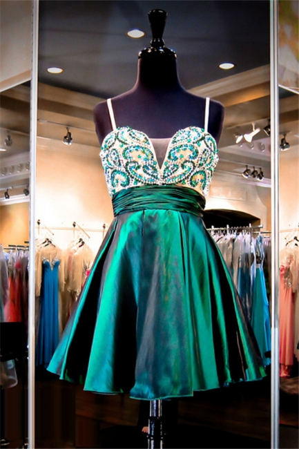 Straps Green Beaded Short Evening Dresses Stretch Satin Turquoise  Homecoming Dress