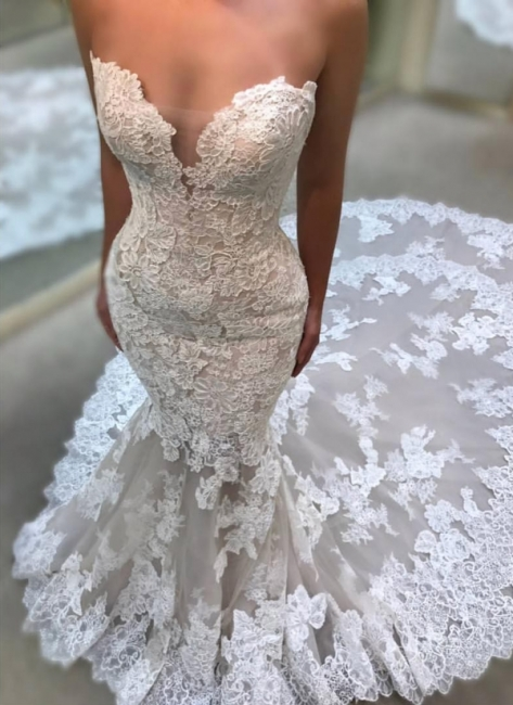 Affordable Lace Appliques Sleeveless Wedding Dresses Sweetheart Bridal Gowns Online
