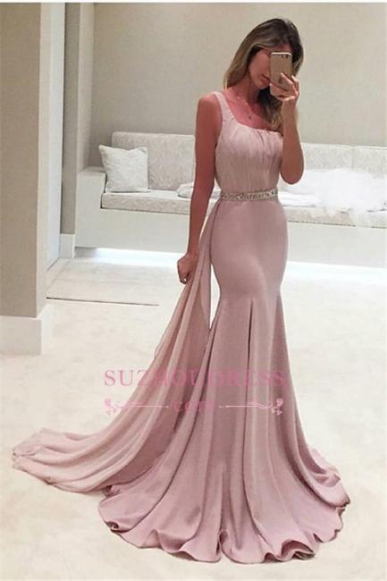 Backless Elegant Ruffles Mermaid One-Shoulder Crystal Prom Dress BA3981