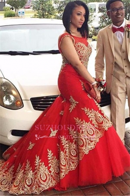 Red Tulle Gold Appliques Evening Gowns Sleeveless Mermaid  Prom Dress BA4560