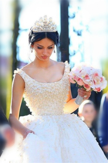 Princess Wedding Dresses Ball Gown Pearls Open Back Chapel Train Bridal Gowns