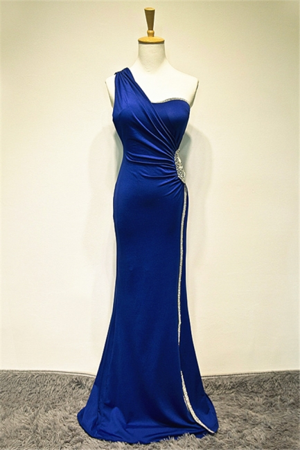 One Shoulder Crystal Blue Mermaid Long Prom Dress Elegant Sweep Train Formal Affordable Evening Gown