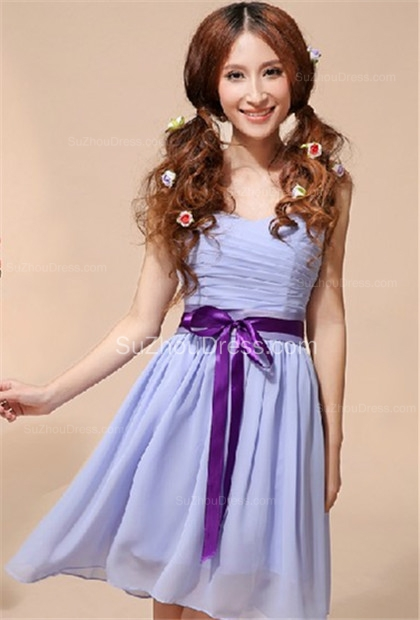 Lavender  Homecoming Dresses  Sweetheart Chiffon Bow Sash School Party Dress