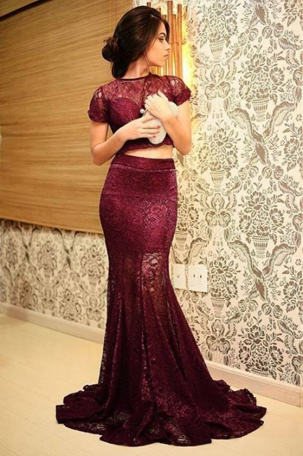 Burgundy Short Sleeve Two Pieces Evening Dress Sexy Mermaid Lace Plus Size Formal Occasion Dress JT005