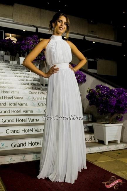 Ruched Long White Elegant High-Neck Chiffon  Evening Dress