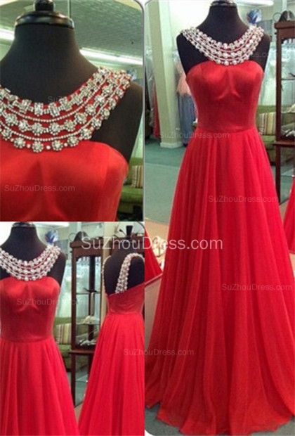 Sexy Red Scoop Prom Gowns  A-Line Sweep Train Evening Dresses with Beadings