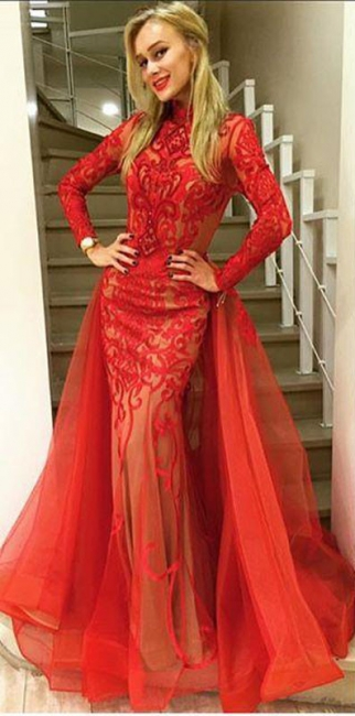 Elegant Red Lace Long Sleeve Evening Dresses  Sheath Prom Dress AE0019