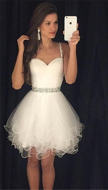 Homecoming Dress  Straps Beading Puffy Organza Party Dress with Crystal Belt BA3623