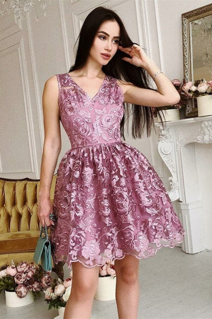 Gorgeous A-Line Sleeveless Homecoming Dresses |  V-Neck Lace Short Hoco Dress