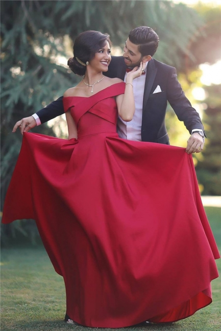 Red Off-the-shoulder Sleeveless Long Evening Dresses  Charming Discount Prom Gown BA3926