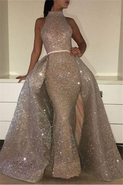 Glamorous Mermaid High-Neck Evening Dresses  Sleeveless Overskirt Prom Dresses