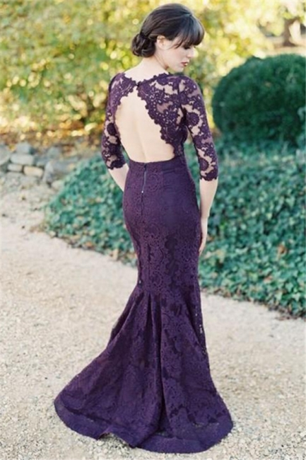 Half Sleeves Open Back Grape Lace Evening Dresses  Elegant Mermaid Wedding Party Dress